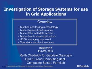 Investigation of Storage Systems for use in Grid Applications