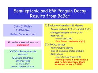 Semileptonic and EW Penguin Decay Results from BaBar