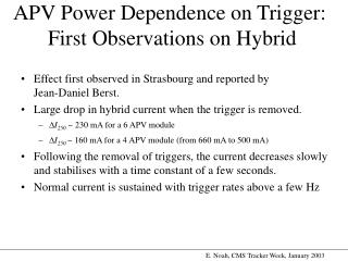 APV Power Dependence on Trigger:  First Observations on Hybrid