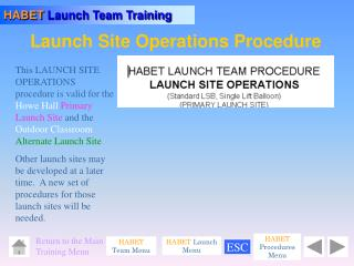 Launch Site Operations Procedure