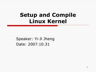 Setup and Compile  Linux Kernel