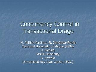 Concurrency Control in Transactional Drago