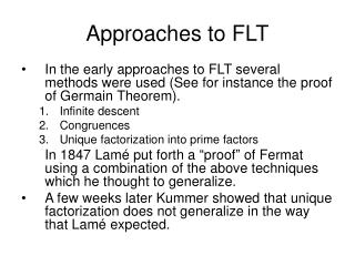 Approaches to FLT