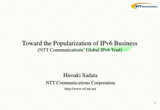 Toward the Popularization of IPv6 Business (NTT Communications' Global IPv6 Trial)