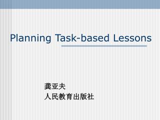 Planning Task-based Lessons
