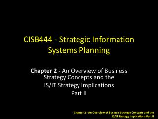 CISB444 - Strategic Information Systems Planning