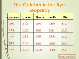 The Catcher in the Rye  Jeopardy