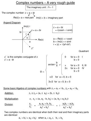 Complex numbers – A very rough guide