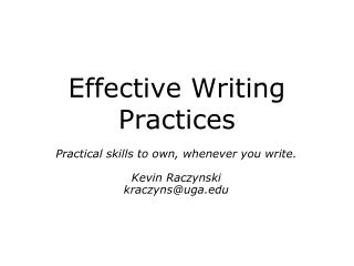 Effective Writing Practices