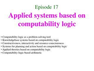 Applied systems based on computability logic