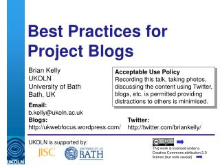 Best Practices for  Project Blogs