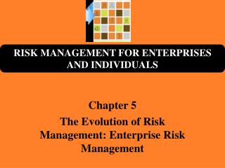 Chapter 5 The Evolution of Risk Management: Enterprise Risk Management