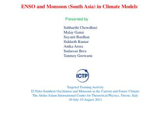 ENSO and Monsoon (South Asia) in Climate Models