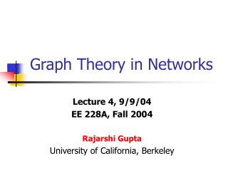Graph Theory in Networks
