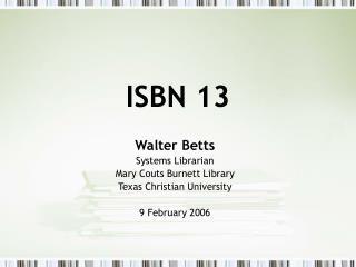 ISBN 13