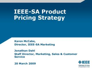 IEEE-SA Product Pricing Strategy