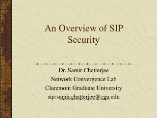 An Overview of SIP Security
