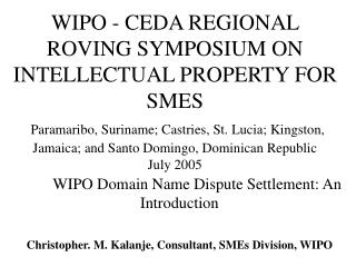 WIPO Domain Name Dispute Settlement: An Introduction