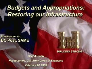 Budgets and Appropriations: Restoring our Infrastructure