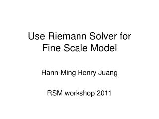 Use Riemann Solver for  Fine Scale Model