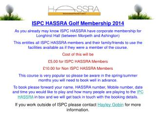 ISPC HASSRA Golf Membership 2014