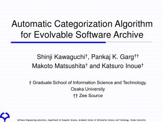 Automatic Categorization Algorithm for Evolvable Software Archive