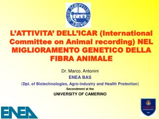 Dr. Marco. Antonini ENEA BAS ( Dpt. of Biotechnologies, Agro-industry and Health Protection )