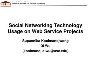 Social Networking Technology Usage on Web Service Projects