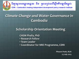 Climate Change and Water Governance in Cambodia