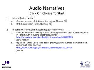 Audio  Narratives Click On Choice To Start