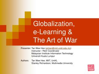 Globalization, e-Learning & The Art of War