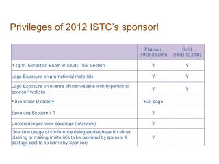 Privileges of 2012 ISTC's sponsor!