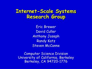 Internet-Scale Systems Research Group