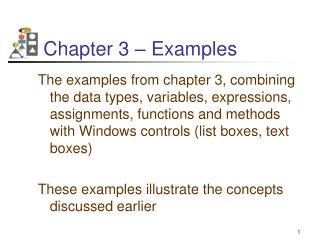 Chapter 3 – Examples