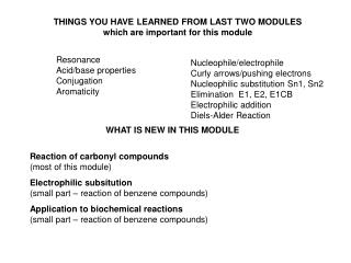THINGS YOU HAVE LEARNED FROM LAST TWO MODULES which are important for this module
