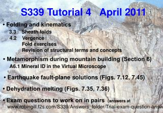 S339 Tutorial 4   April 2011
