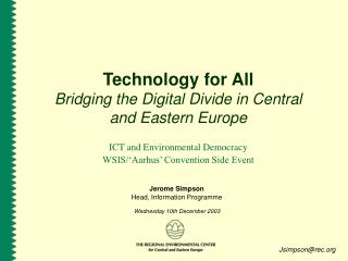 Technology for All Bridging the Digital Divide in Central and Eastern Europe