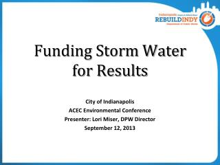 Funding Storm Water  for Results