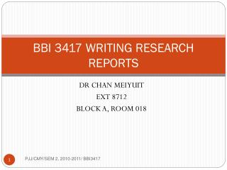 BBI 3417 WRITING RESEARCH REPORTS
