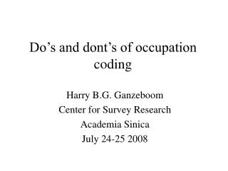 Do's and dont's of occupation coding
