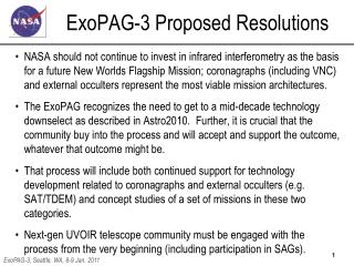 ExoPAG-3 Proposed Resolutions