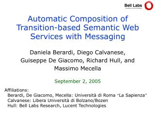 Automatic Composition of Transition-based Semantic Web Services with Messaging
