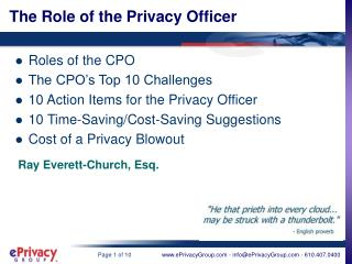 The Role of the Privacy Officer