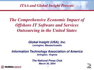 Global Insight (USA), Inc. Lexington, Massachusetts Information Technology Association of America