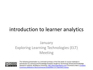 introduction to learner analytics