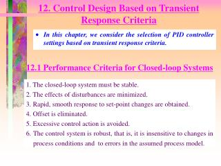 12. Control Design Based on Transient Response Criteria