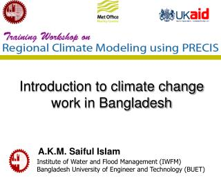 Introduction to climate change work in Bangladesh