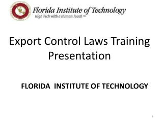 Export Control Laws Training Presentation