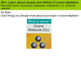 Aim: Learn about causes and effects of ozone depletion