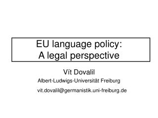 EU  language policy:  A legal perspective